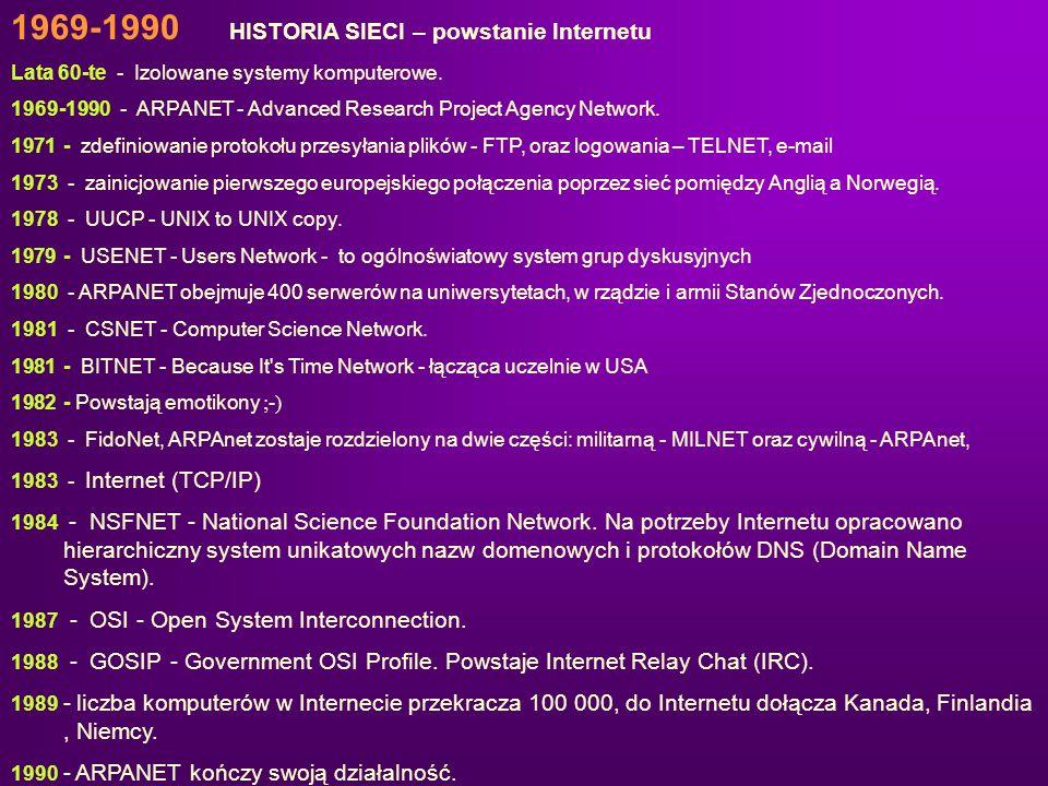 1969-1990 HISTORIA SIECI – powstanie Internetu