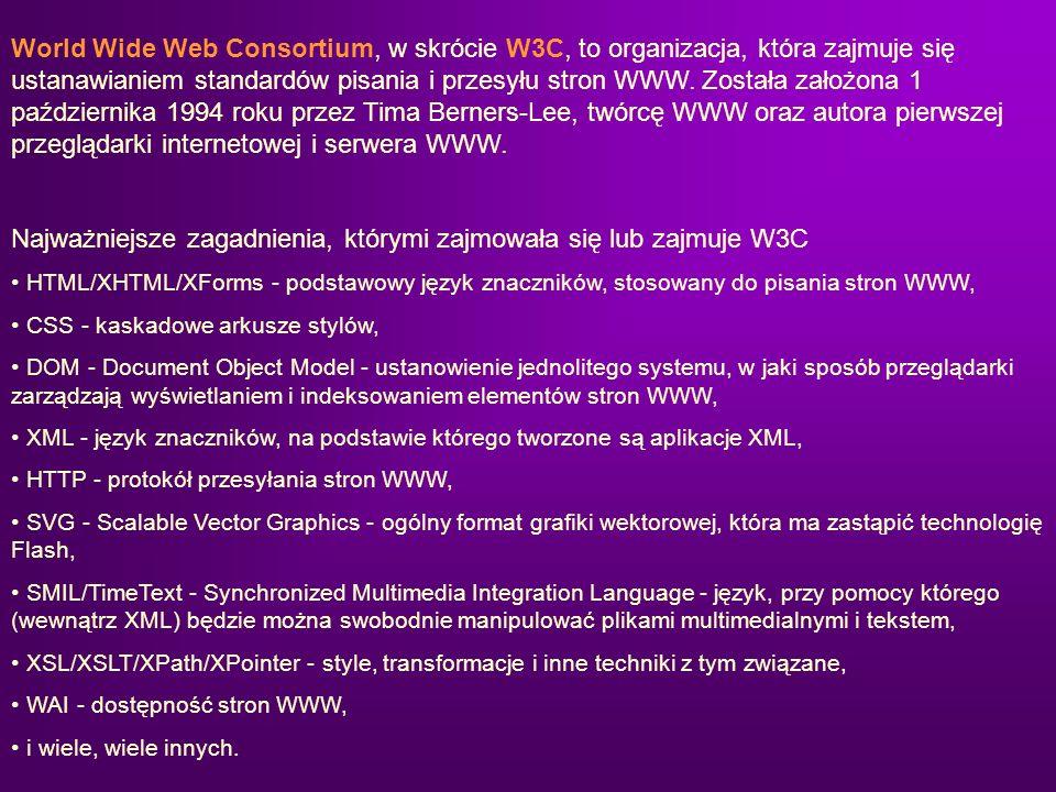 Najważniejsze zagadnienia, którymi zajmowała się lub zajmuje W3C
