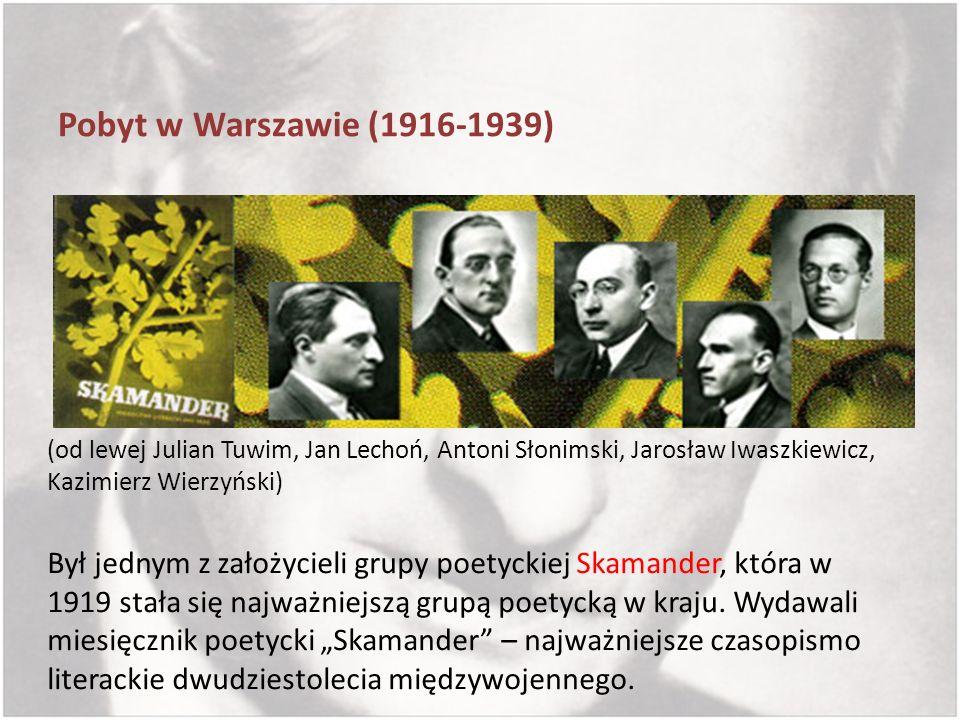 Pobyt w Warszawie (1916-1939)(od lewej Julian Tuwim, Jan Lechoń, Antoni Słonimski, Jarosław Iwaszkiewicz, Kazimierz Wierzyński)
