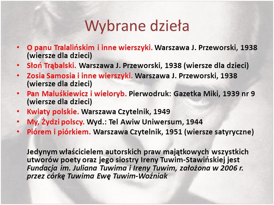Wybrane dzieła O panu Tralalińskim i inne wierszyki. Warszawa J. Przeworski, 1938 (wiersze dla dzieci)