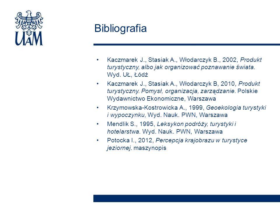 Bibliografia Kaczmarek J., Stasiak A., Włodarczyk B., 2002, Produkt turystyczny, albo jak organizować poznawanie świata. Wyd. UŁ, Łódź.