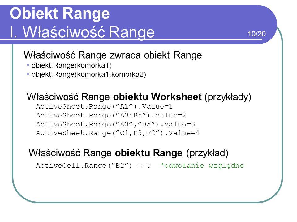 Obiekt Range I. Właściwość Range