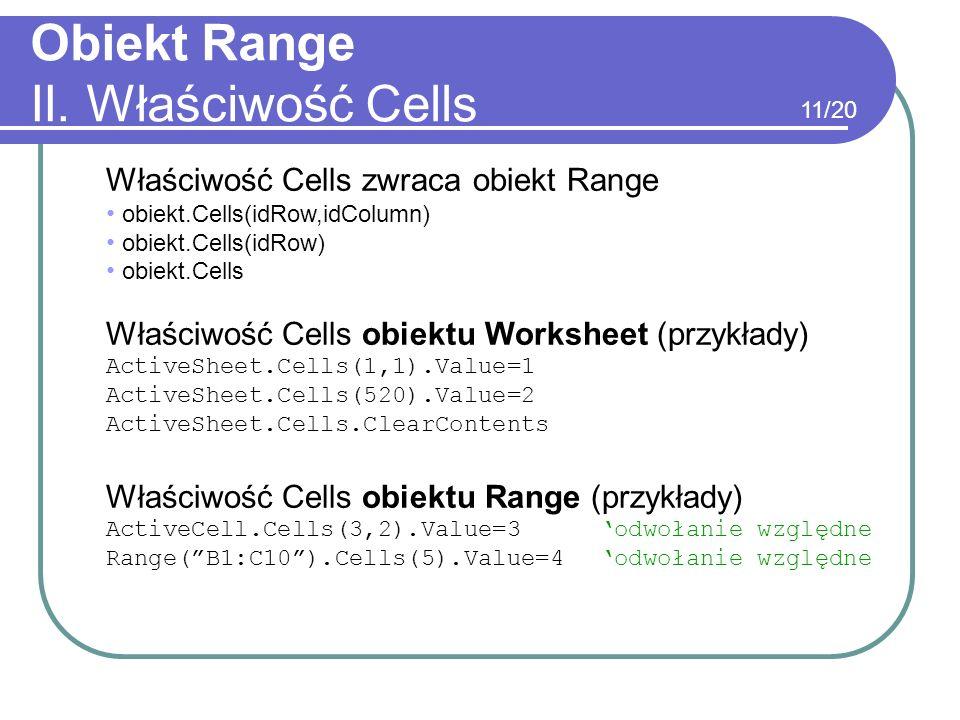Obiekt Range II. Właściwość Cells