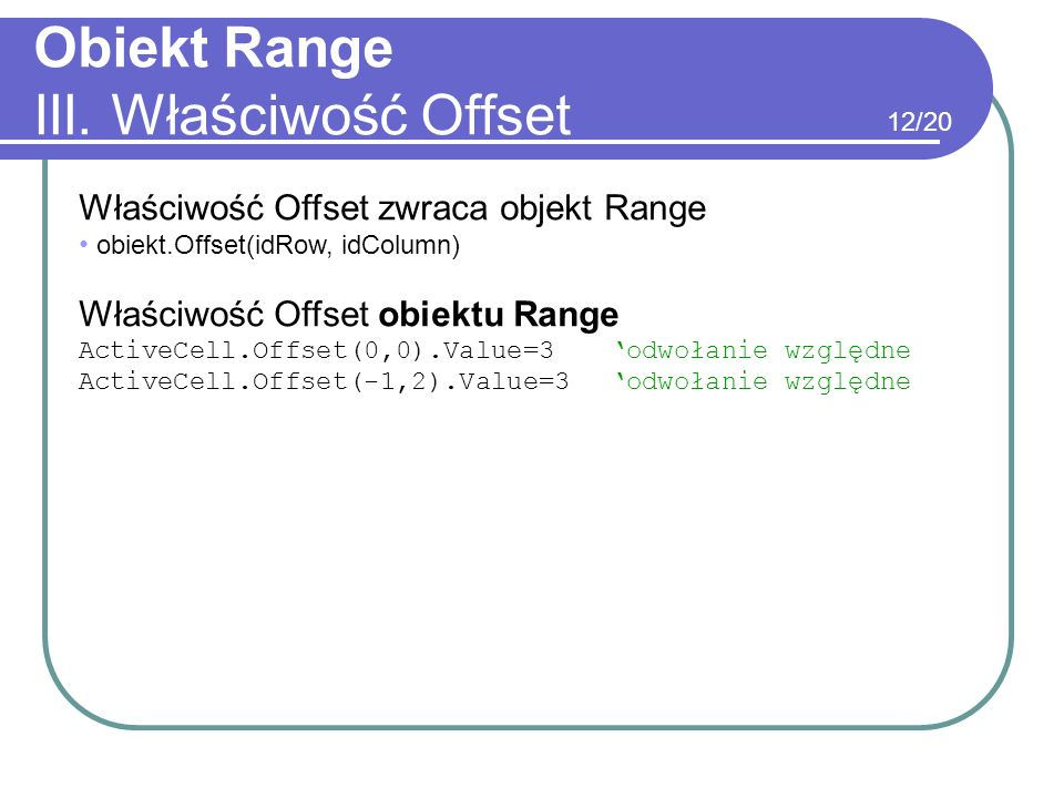 Obiekt Range III. Właściwość Offset