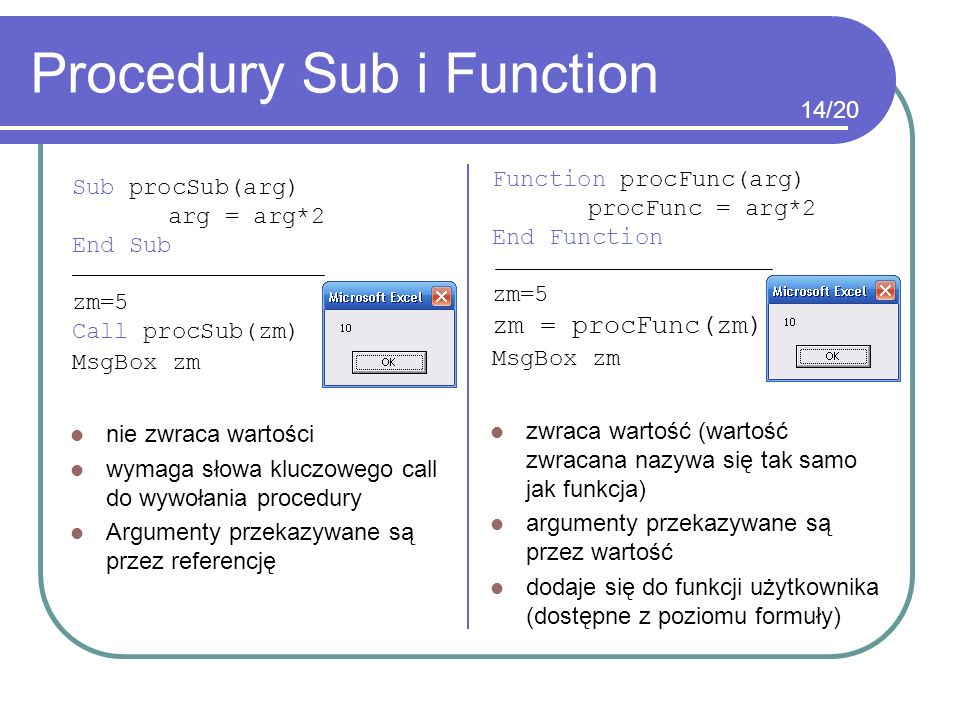Procedury Sub i Function