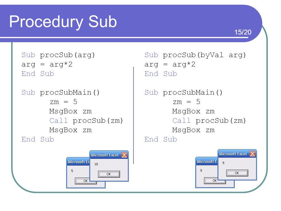 Procedury Sub Sub procSub(arg) Sub procSub(byVal arg) arg = arg*2