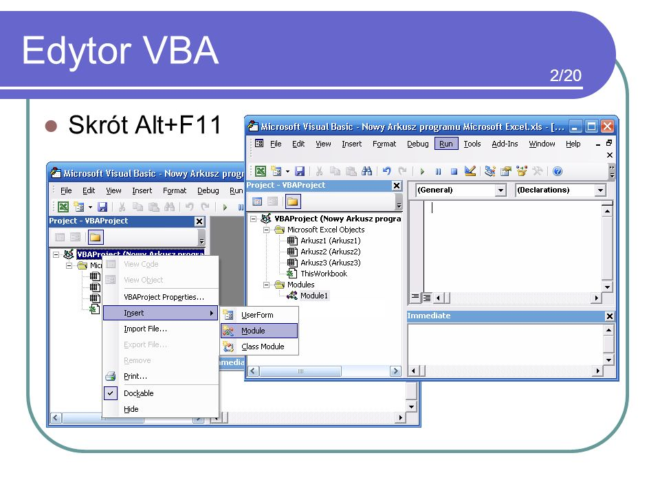 Edytor VBA 2/20 Skrót Alt+F11