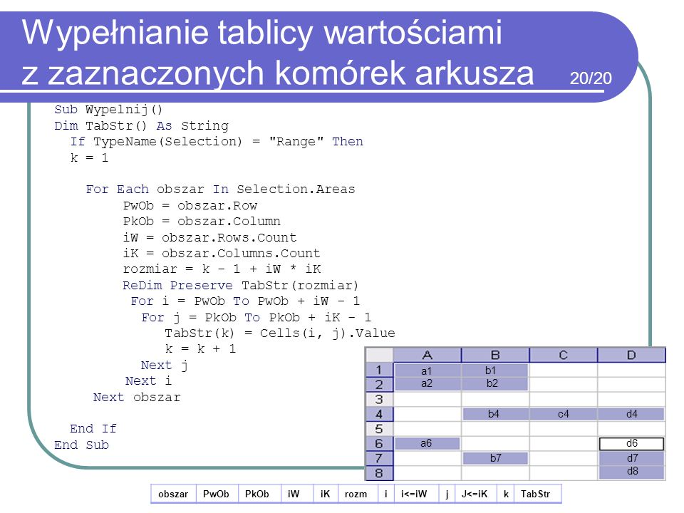 Wypełnianie tablicy wartościami z zaznaczonych komórek arkusza