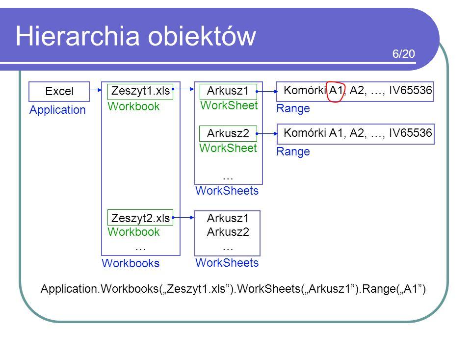 Hierarchia obiektów 6/20 Excel Zeszyt1.xls Zeszyt2.xls … Arkusz1