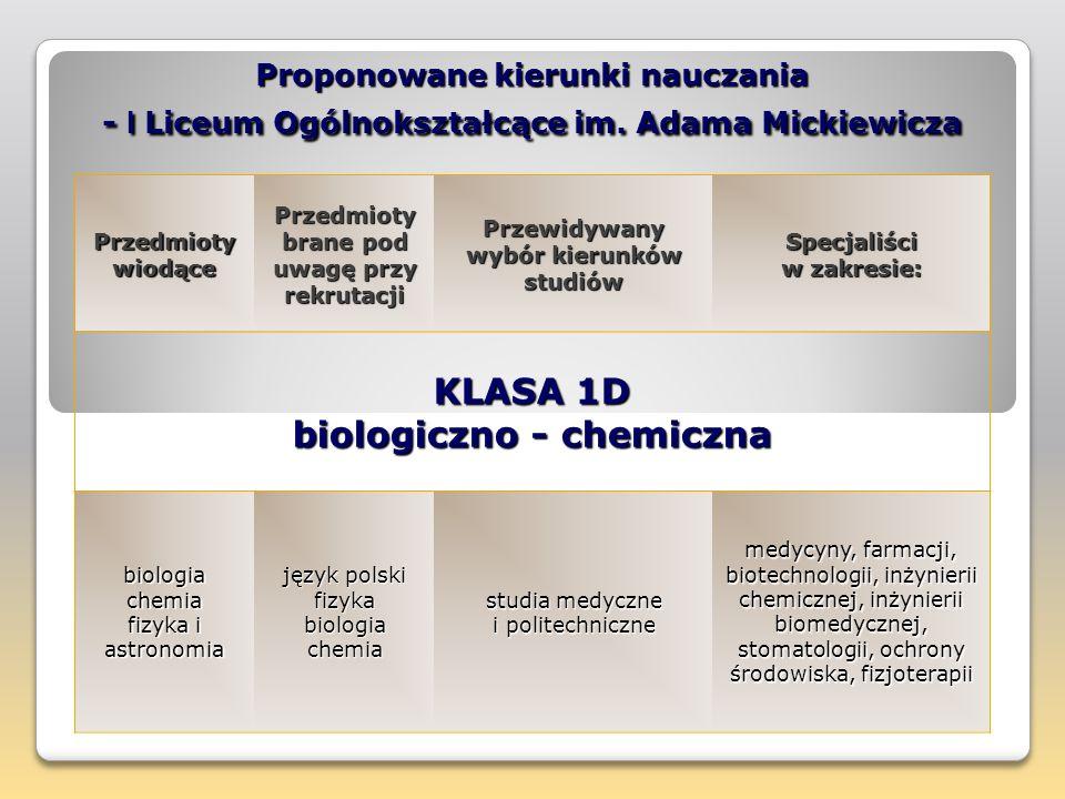 KLASA 1D biologiczno - chemiczna