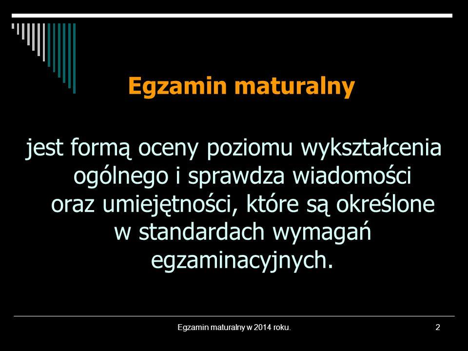 Egzamin maturalny w 2014 roku.
