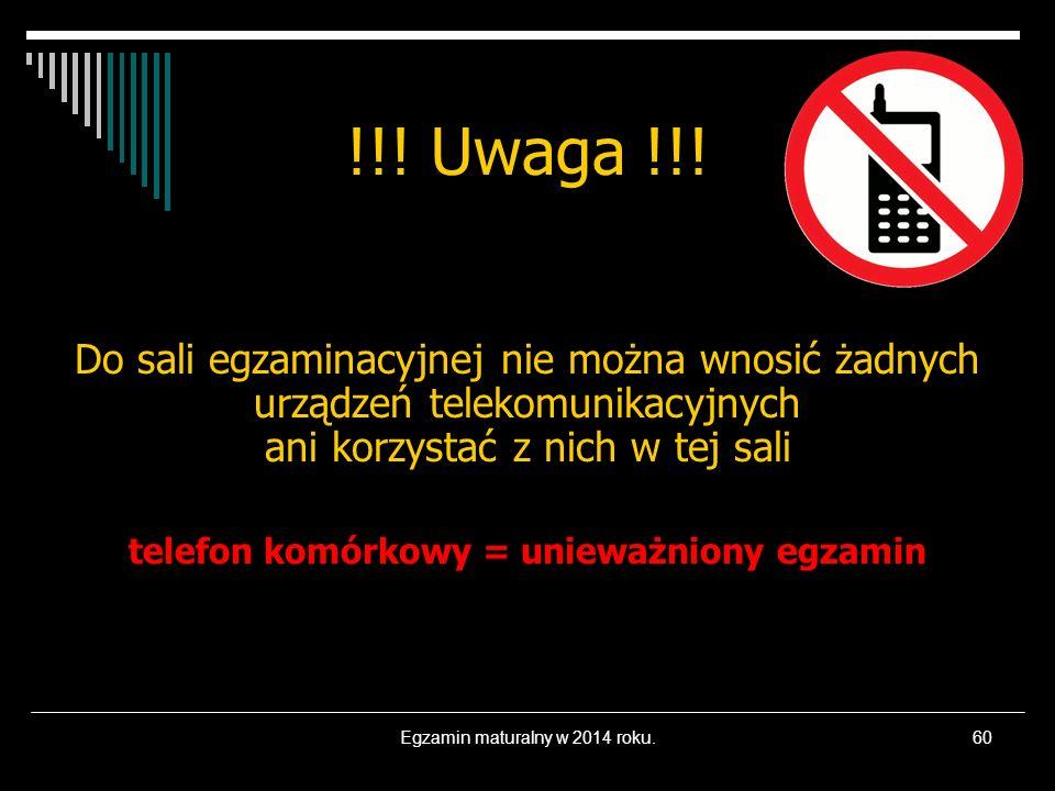 telefon komórkowy = unieważniony egzamin