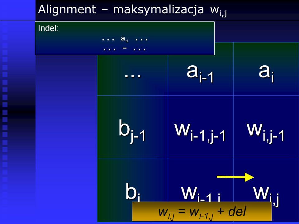 Alignment – maksymalizacja wi,j