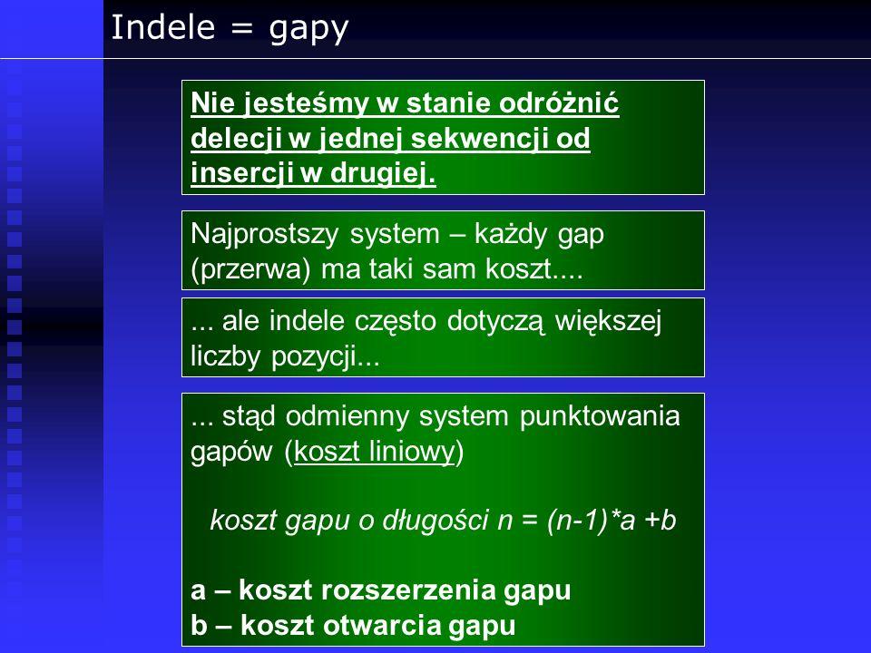 koszt gapu o długości n = (n-1)*a +b