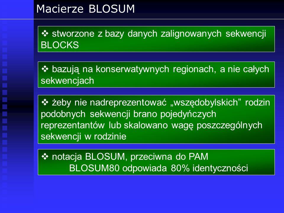 Macierze BLOSUM stworzone z bazy danych zalignowanych sekwencji BLOCKS