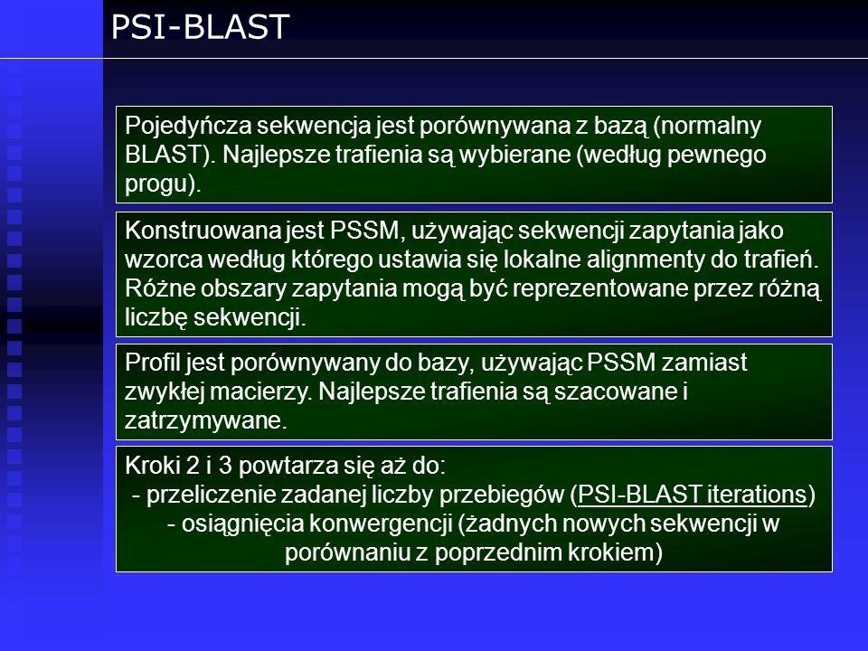 przeliczenie zadanej liczby przebiegów (PSI-BLAST iterations)
