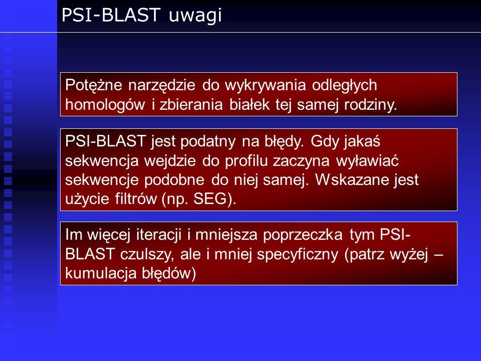 PSI-BLAST uwagi Potężne narzędzie do wykrywania odległych homologów i zbierania białek tej samej rodziny.