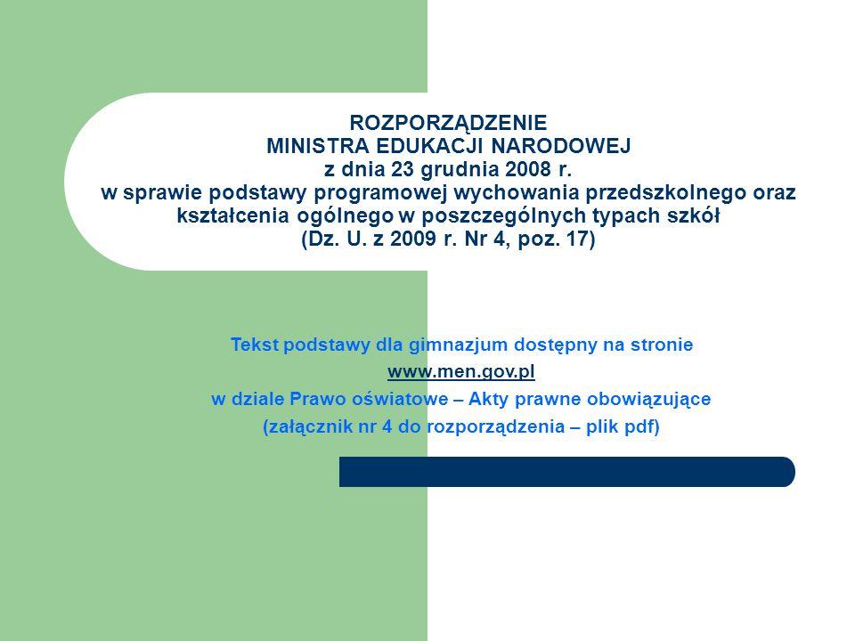 ROZPORZĄDZENIE MINISTRA EDUKACJI NARODOWEJ z dnia 23 grudnia 2008 r