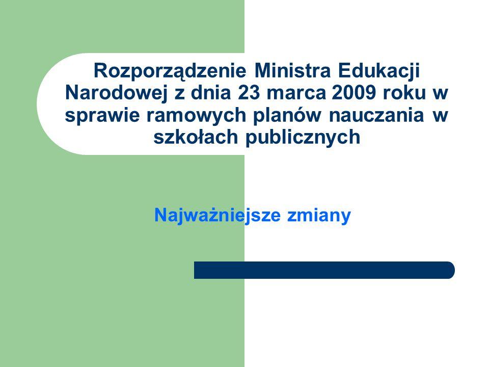 Rozporządzenie Ministra Edukacji Narodowej z dnia 23 marca 2009 roku w sprawie ramowych planów nauczania w szkołach publicznych