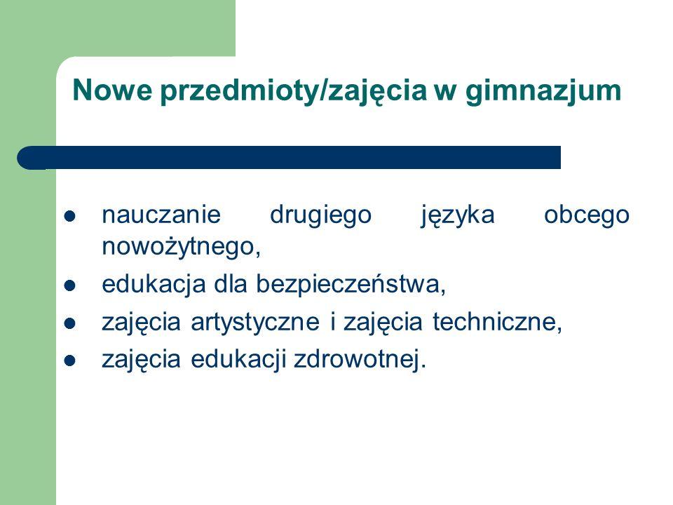 Nowe przedmioty/zajęcia w gimnazjum