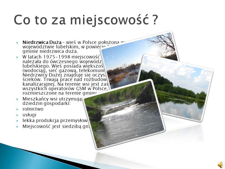 Co to za miejscowość Niedrzwica Duża – wieś w Polsce położona w województwie lubelskim, w powiecie lubelskim, w gminie niedrzwica duża.