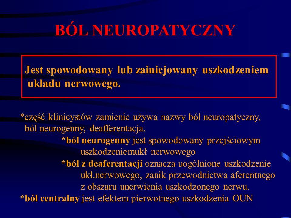 BÓL NEUROPATYCZNY Jest spowodowany lub zainicjowany uszkodzeniem