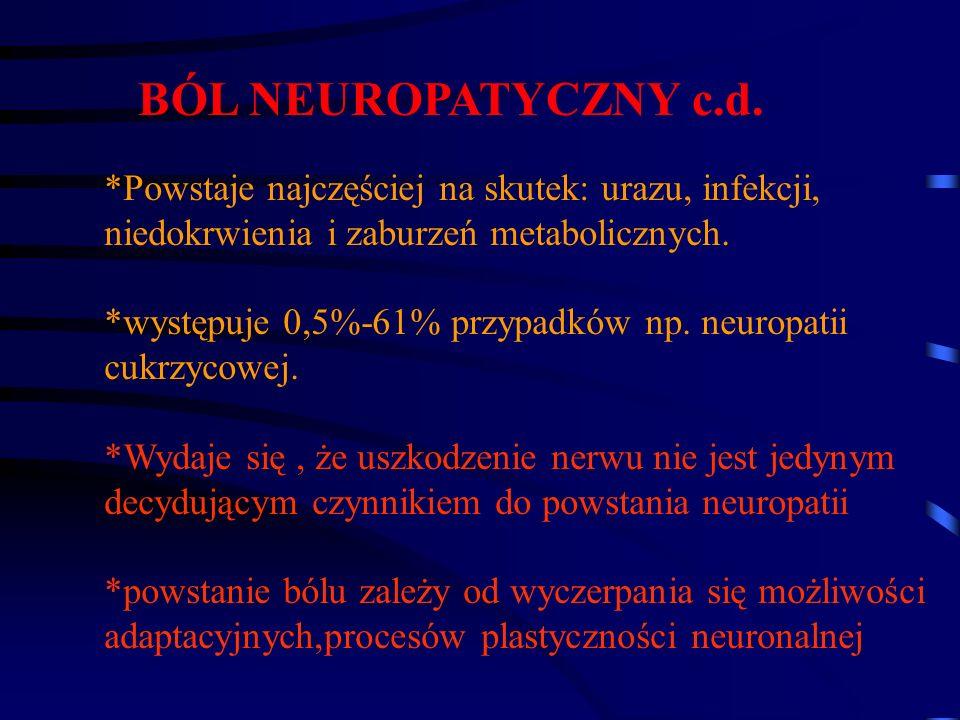 BÓL NEUROPATYCZNY c.d.*Powstaje najczęściej na skutek: urazu, infekcji, niedokrwienia i zaburzeń metabolicznych.