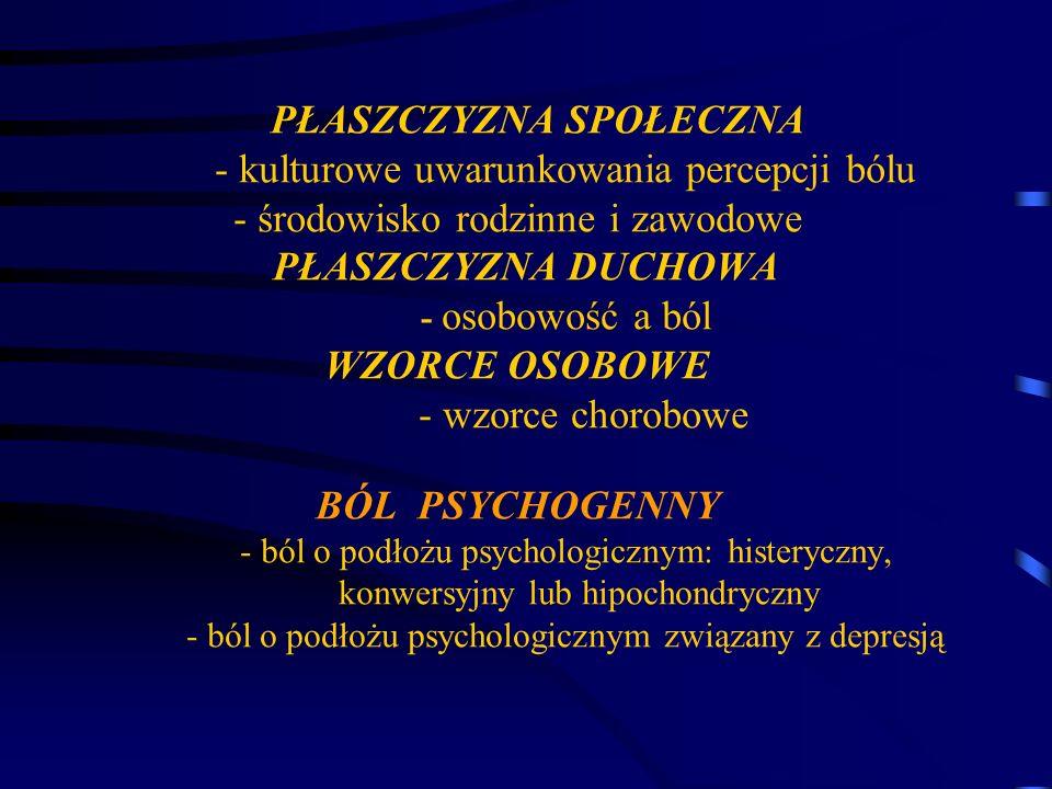 PŁASZCZYZNA SPOŁECZNA - kulturowe uwarunkowania percepcji bólu - środowisko rodzinne i zawodowe PŁASZCZYZNA DUCHOWA - osobowość a ból WZORCE OSOBOWE - wzorce chorobowe BÓL PSYCHOGENNY - ból o podłożu psychologicznym: histeryczny, konwersyjny lub hipochondryczny - ból o podłożu psychologicznym związany z depresją