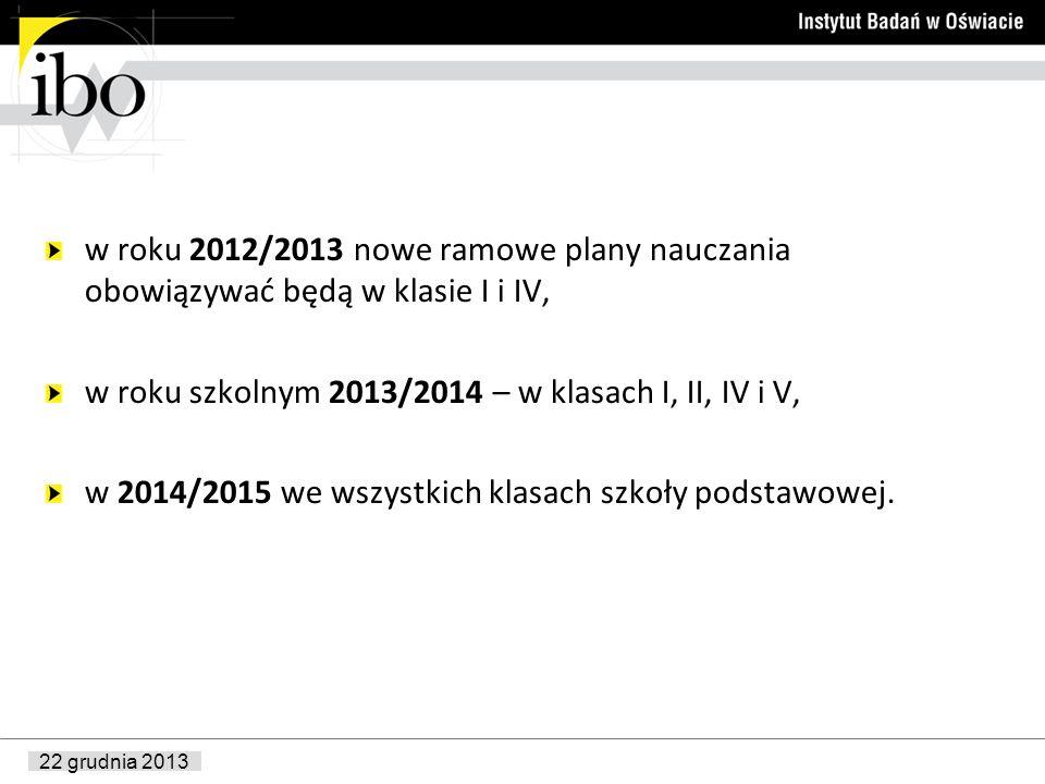 w roku 2012/2013 nowe ramowe plany nauczania obowiązywać będą w klasie I i IV,