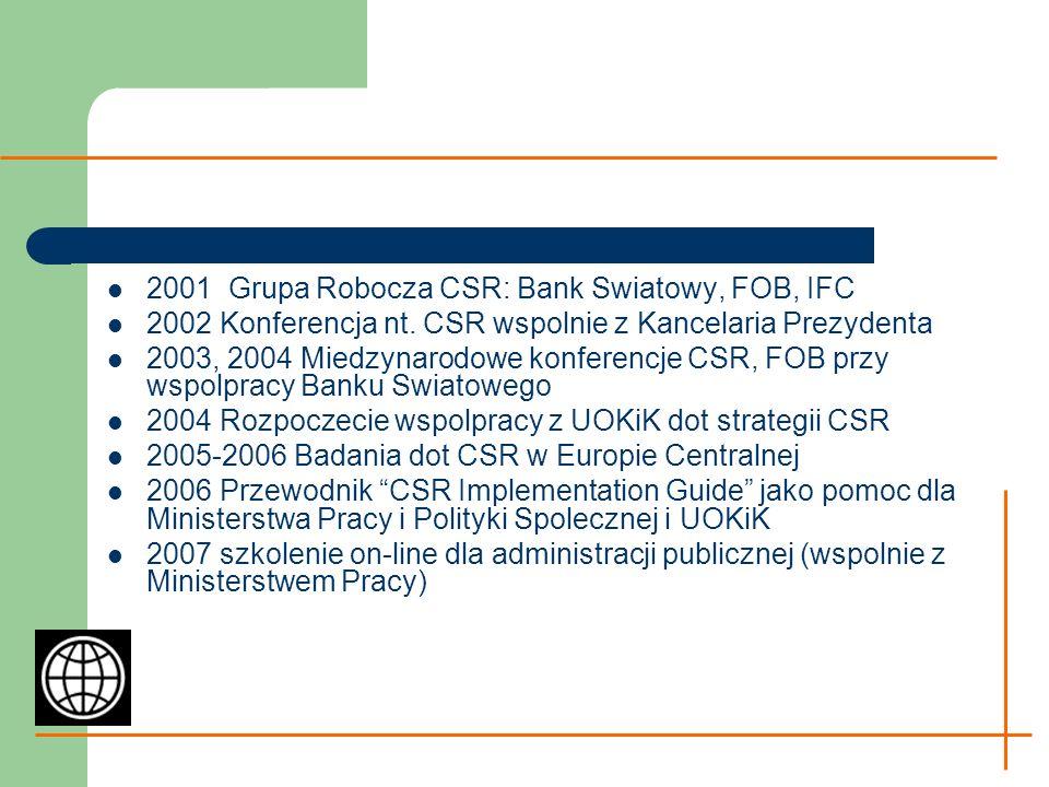 2001 Grupa Robocza CSR: Bank Swiatowy, FOB, IFC