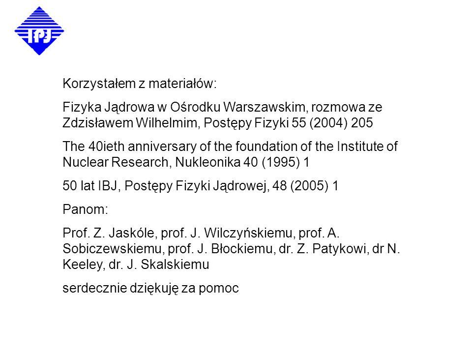 Od eksperymentu do teorii Fizyka Jądrowa w IBJ/IPJ