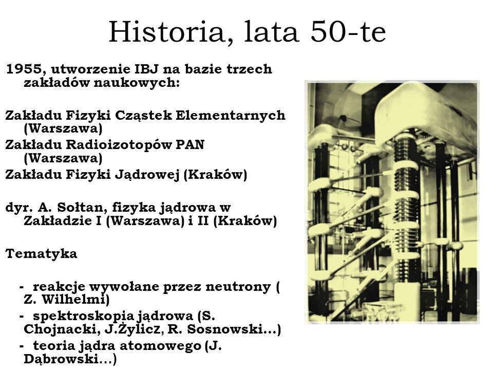Historia, lata 50-te 1955, utworzenie IBJ na bazie trzech zakładów naukowych: Zakładu Fizyki Cząstek Elementarnych (Warszawa)