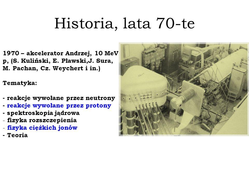 Historia, lata 70-te 1970 – akcelerator Andrzej, 10 MeV, p, (S. Kuliński, E. Pławski,J. Sura, M. Pachan, Cz. Weychert i in.)