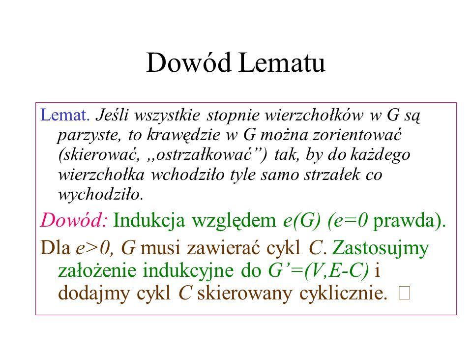 Dowód Lematu Dowód: Indukcja względem e(G) (e=0 prawda).