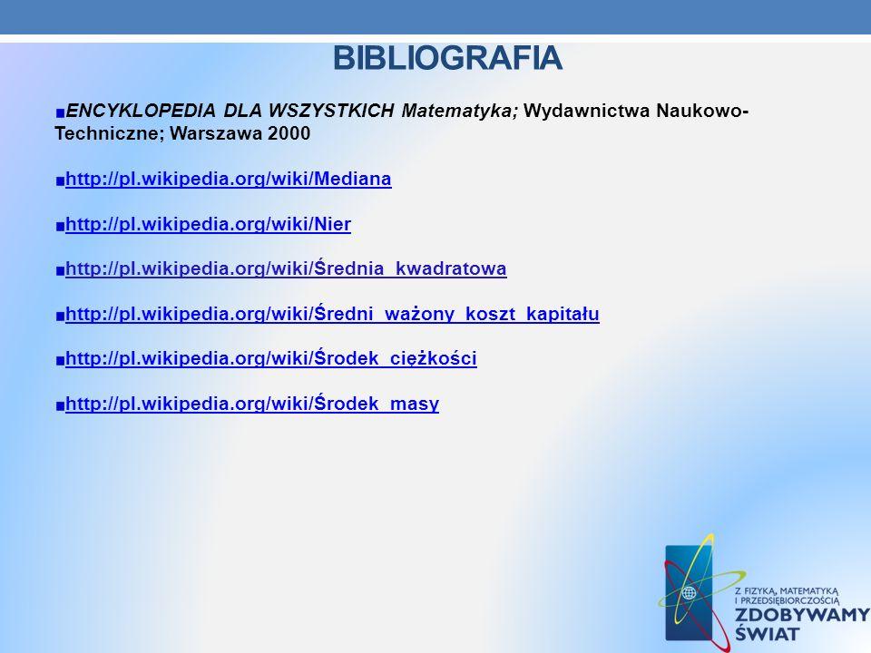 Bibliografia ENCYKLOPEDIA DLA WSZYSTKICH Matematyka; Wydawnictwa Naukowo- Techniczne; Warszawa 2000.