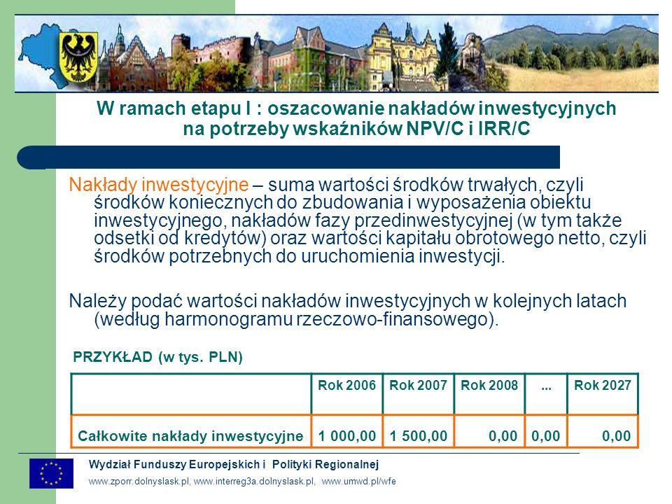 W ramach etapu I : oszacowanie nakładów inwestycyjnych na potrzeby wskaźników NPV/C i IRR/C