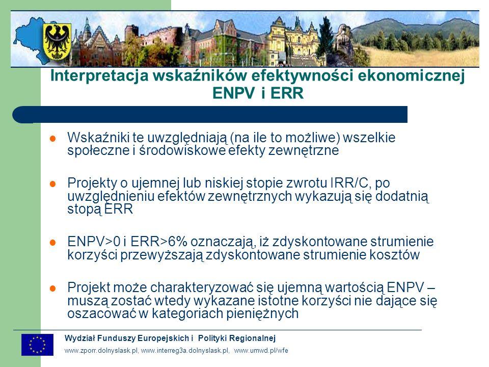 Interpretacja wskaźników efektywności ekonomicznej ENPV i ERR