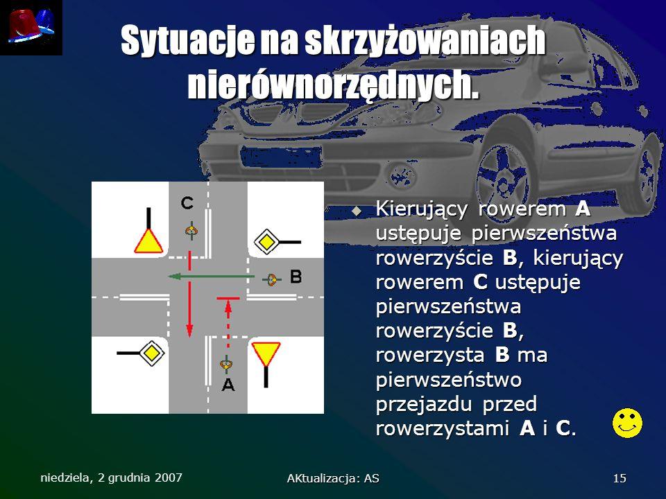Sytuacje na skrzyżowaniach nierównorzędnych.