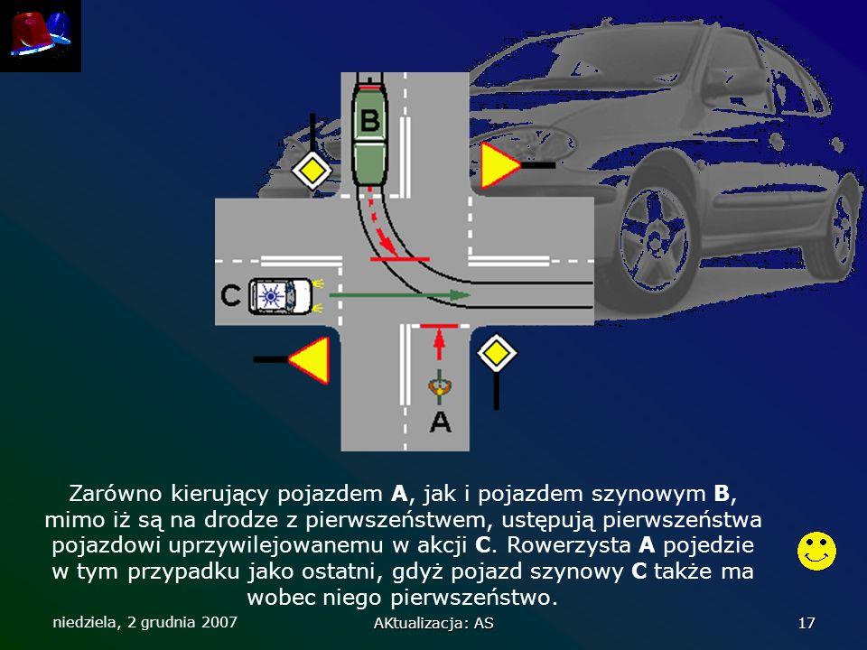 Zarówno kierujący pojazdem A, jak i pojazdem szynowym B, mimo iż są na drodze z pierwszeństwem, ustępują pierwszeństwa pojazdowi uprzywilejowanemu w akcji C. Rowerzysta A pojedzie w tym przypadku jako ostatni, gdyż pojazd szynowy C także ma wobec niego pierwszeństwo.