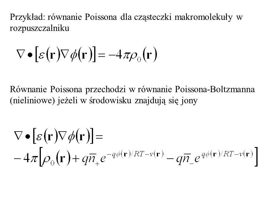 Przykład: równanie Poissona dla cząsteczki makromolekuły w rozpuszczalniku