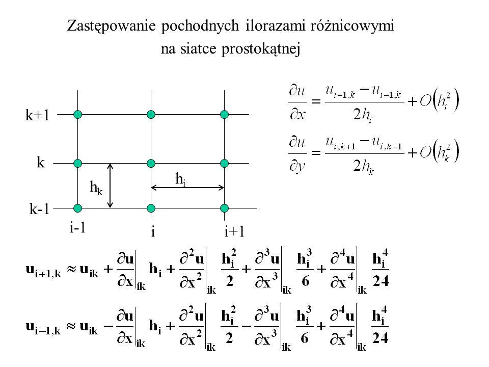 Zastępowanie pochodnych ilorazami różnicowymi na siatce prostokątnej