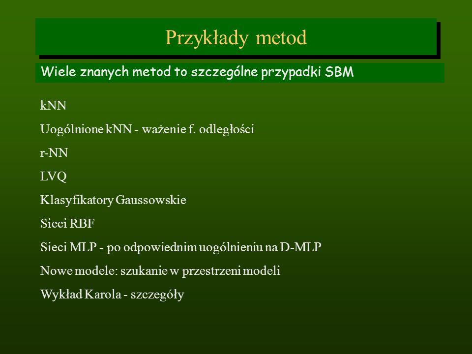 Przykłady metod Wiele znanych metod to szczególne przypadki SBM kNN