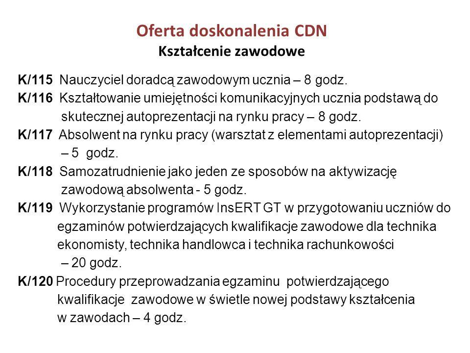 Oferta doskonalenia CDN Kształcenie zawodowe