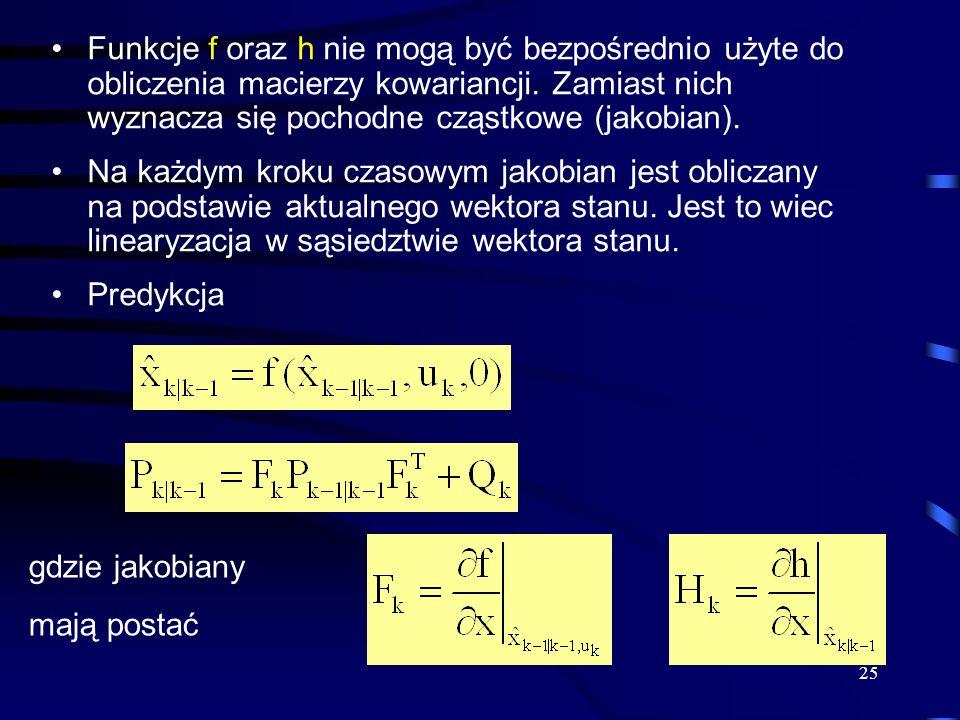 Funkcje f oraz h nie mogą być bezpośrednio użyte do obliczenia macierzy kowariancji. Zamiast nich wyznacza się pochodne cząstkowe (jakobian).