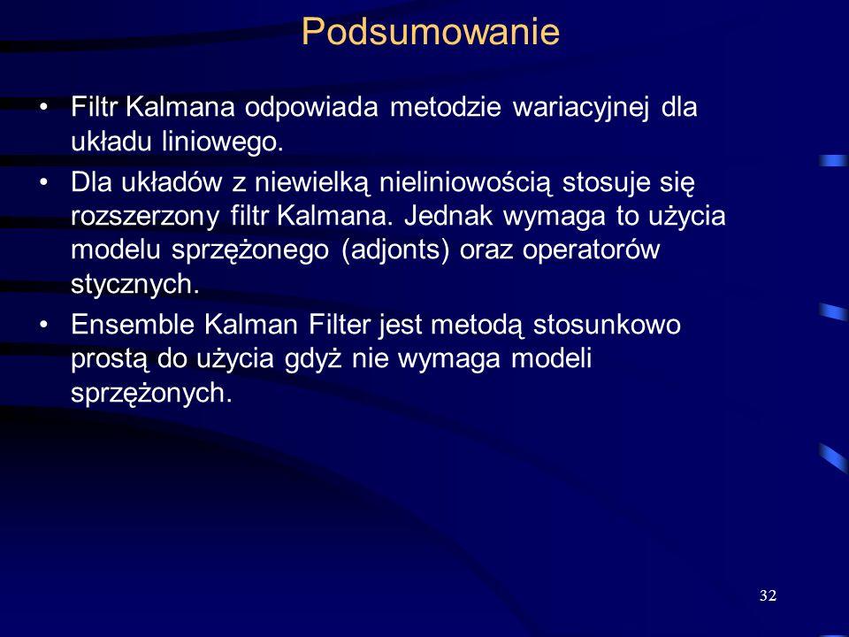 Podsumowanie Filtr Kalmana odpowiada metodzie wariacyjnej dla układu liniowego.