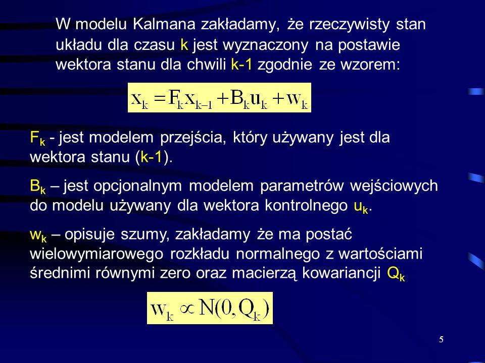 W modelu Kalmana zakładamy, że rzeczywisty stan układu dla czasu k jest wyznaczony na postawie wektora stanu dla chwili k-1 zgodnie ze wzorem: