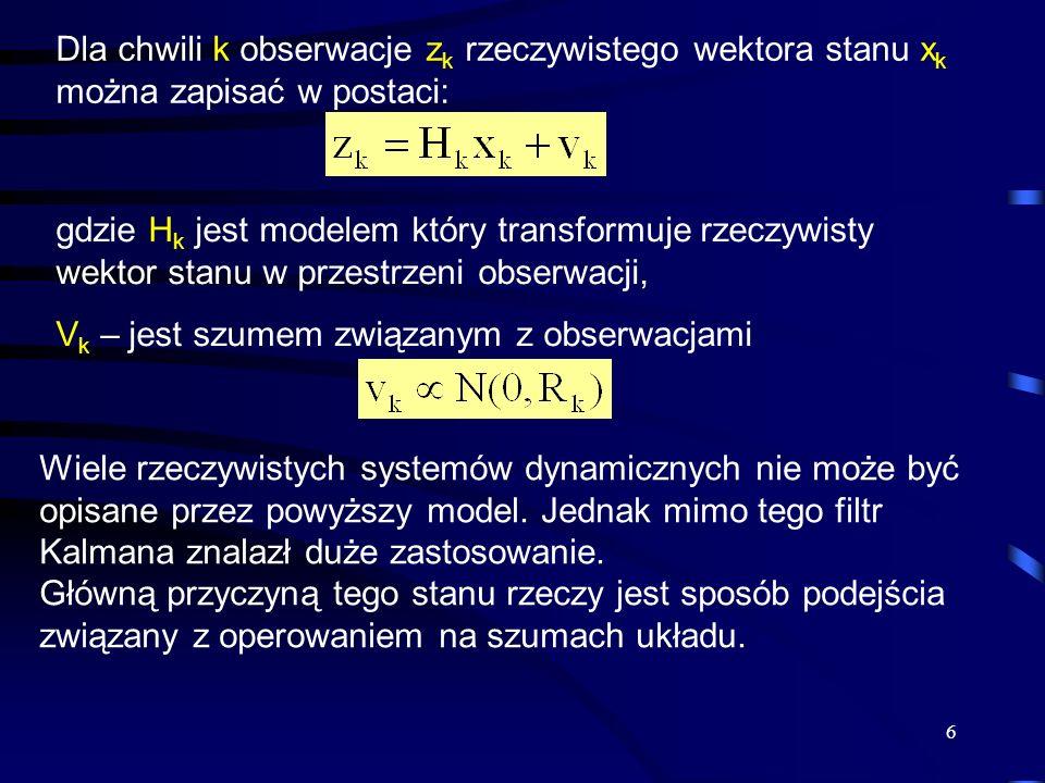 Dla chwili k obserwacje zk rzeczywistego wektora stanu xk można zapisać w postaci: