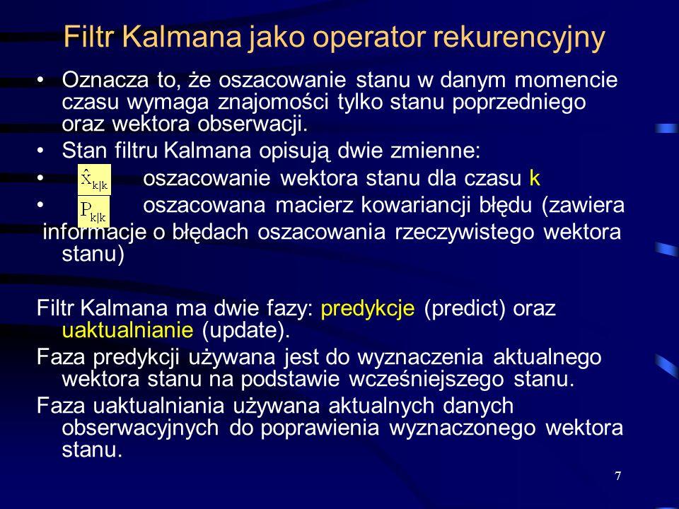Filtr Kalmana jako operator rekurencyjny