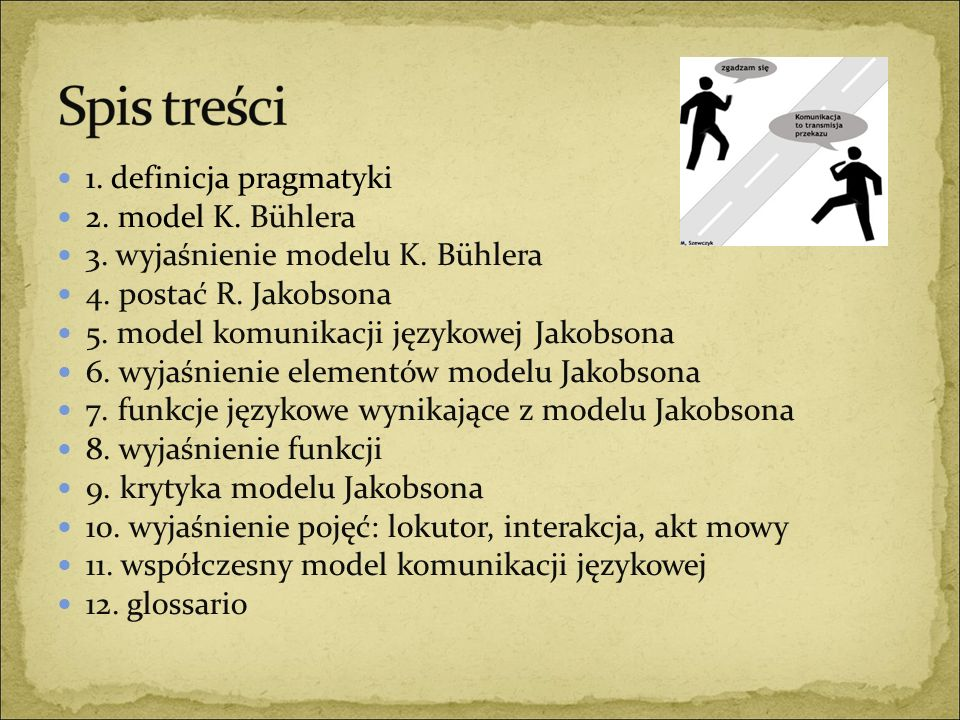 3. wyjaśnienie modelu K. Bühlera 4. postać R. Jakobsona