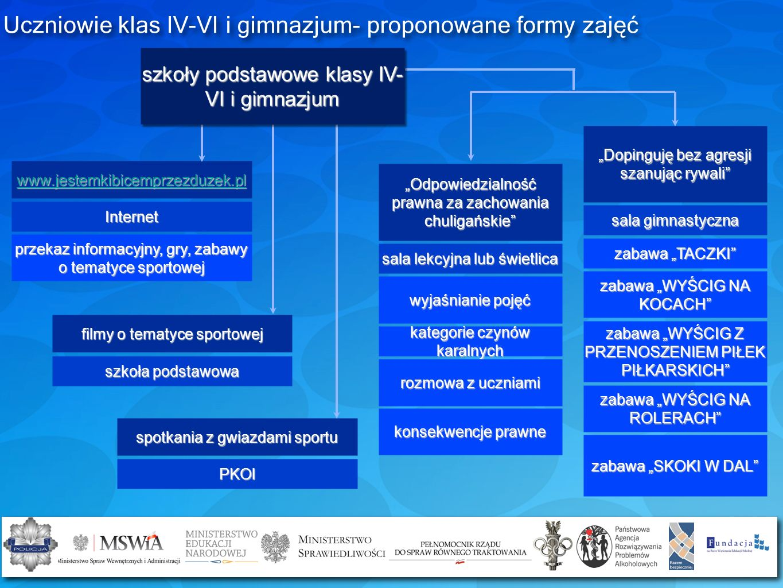 Uczniowie klas IV-VI i gimnazjum- proponowane formy zajęć